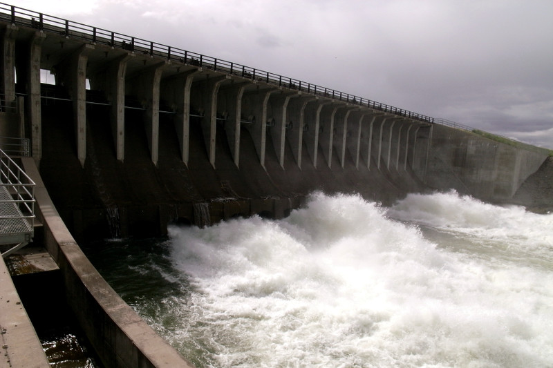 Massive outflow from Jackson Lake dam into the Snake River