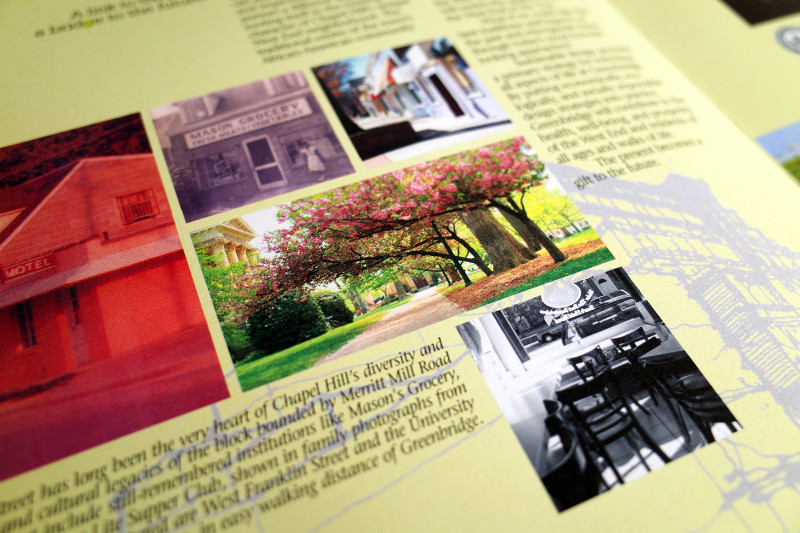 photo of the Greenbridge brochure showing three of my photos of Chapel Hill