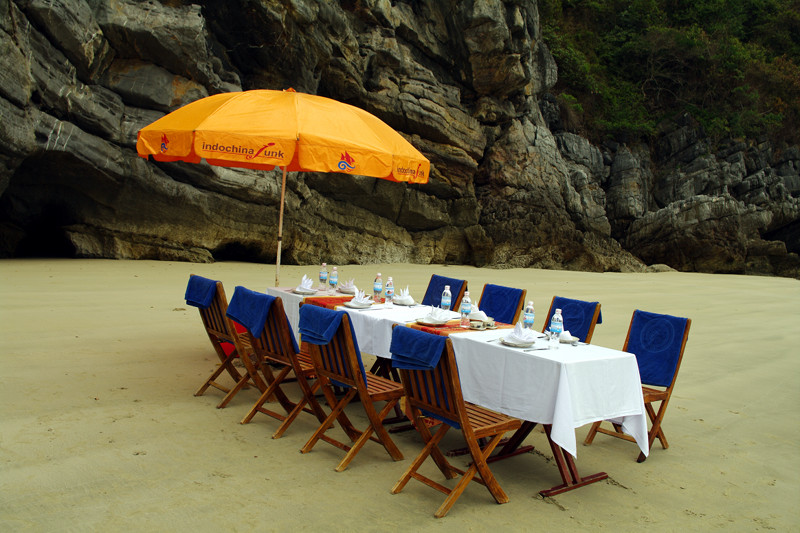 Table on beach for lunch barbecue in Hạ Long Bay, Vietnam
