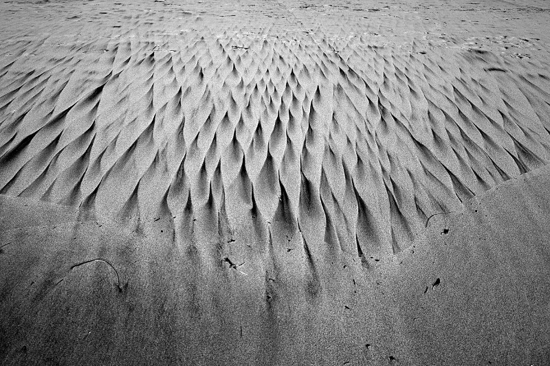 Patterns in the sand of Half Moon Bay