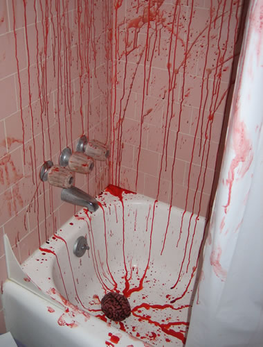 Disturbingly decorated bathroom