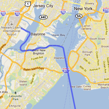 Map of our approach to the Port Newark-Elizabeth Marine Terminal in New Jersey