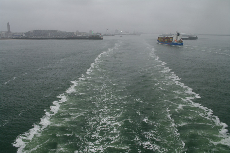Looking back towards the port of Le Havre, France, taken from the Hanjin Palermo