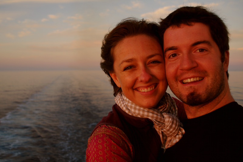 Stephanie and Justin enjoying the sunset at the stern of the Hanjin Palermo