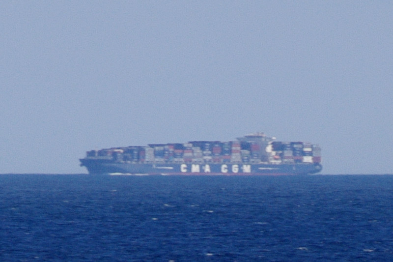Telephoto container ship seen from the Hanjin Palermo