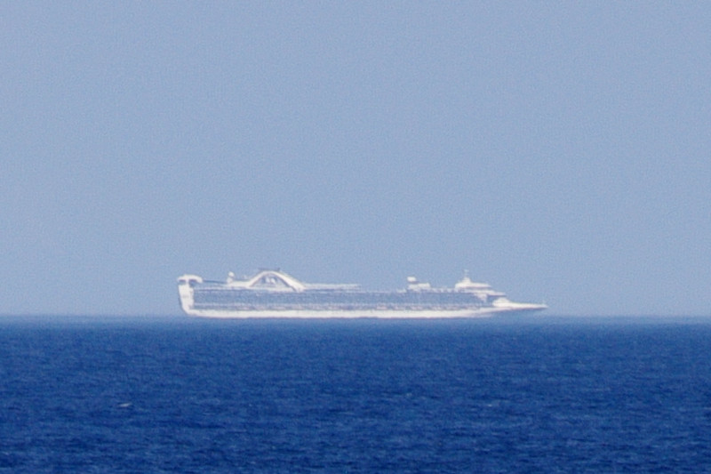 Telephoto cruise ship seen from the Hanjin Palermo
