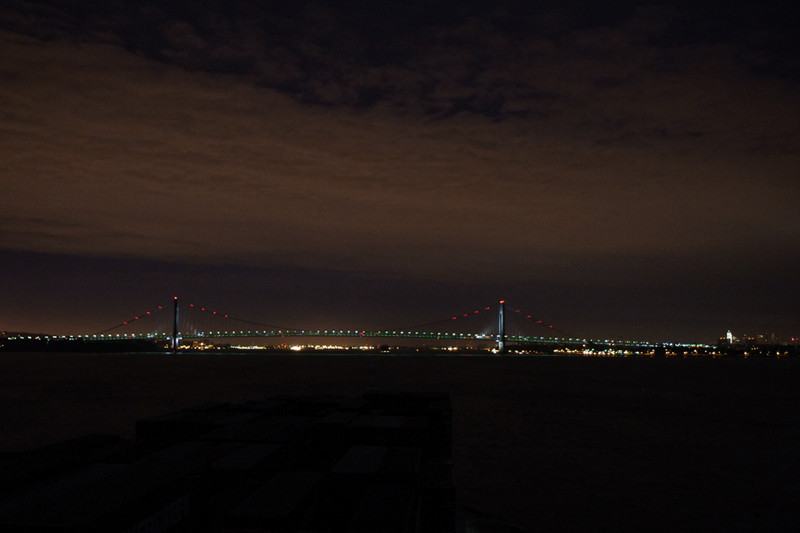 Lights of the Verrazano-Narrows Bridge, seen from the Hanjin Palermo