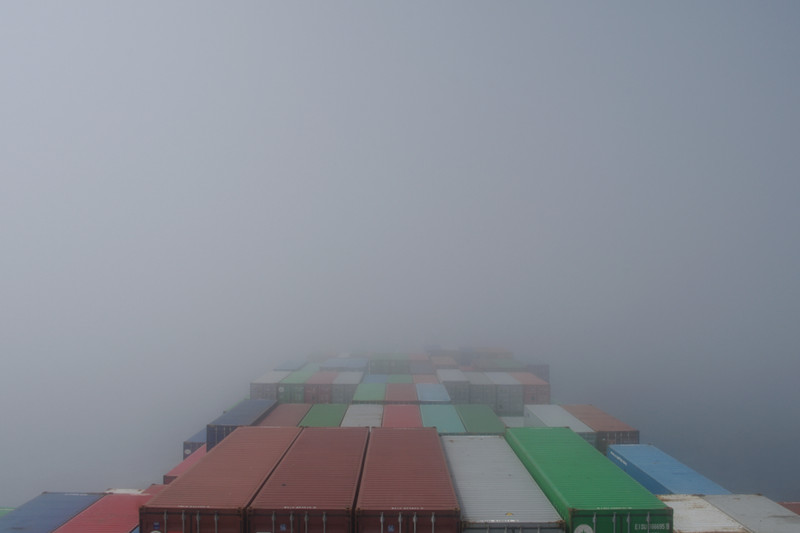 View from the bridge of the Hanjin Palermo in the fog