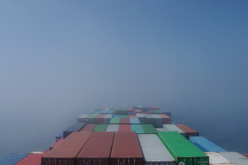 View from the bridge of the Hanjin Palermo, coming out of the fog