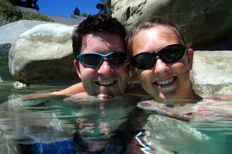 Justin and Stephanie in the Hanmer Springs thermal pools