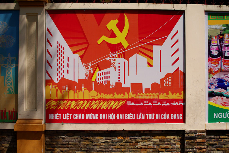 Communist billboard in Ho Chi Minh City, Vietnam during Tết Festival 2011