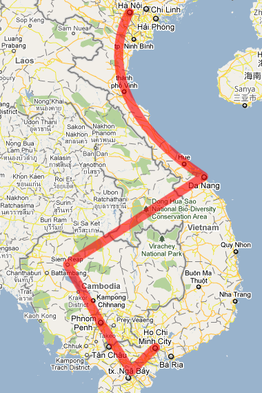Map of our planned route from Ho Chi Minh City to Hanoi via Cambodia