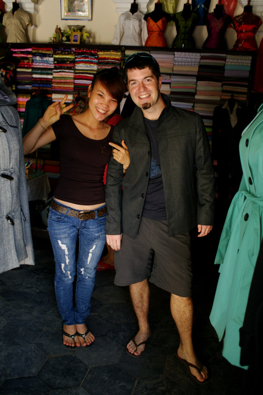 Justin posing with a jacket he had custom-made at Thinh Thanh in Hội An, Vietnam