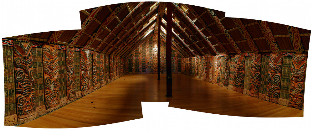Panorama of the inside of the Hotunui wharenui