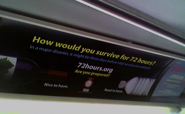 How would you survive for 72 hours? Wine: nice to have; Water: need to have