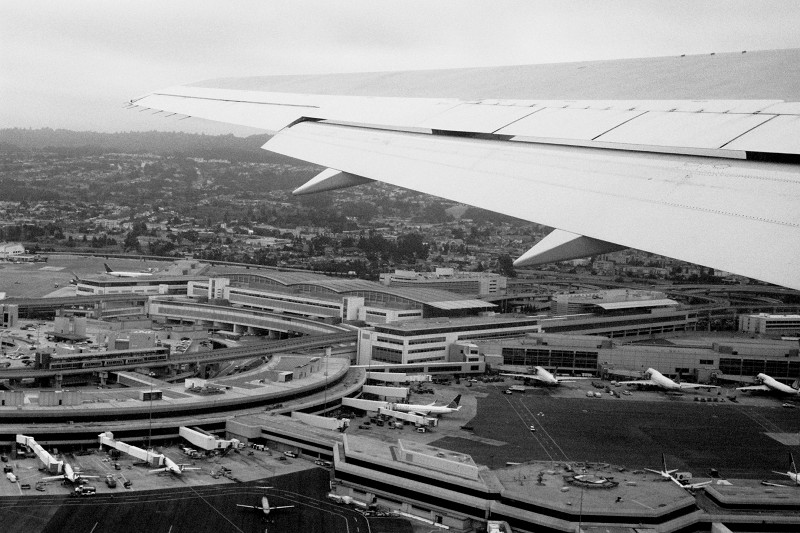 Black and white photo taken in the air above SFO