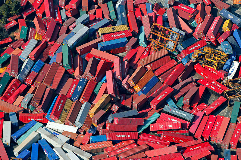 Photo by Itsuo Inouye/Associated Press of displaced cargo containers after the 2011 Sendai, Japan earthquake and tsunami