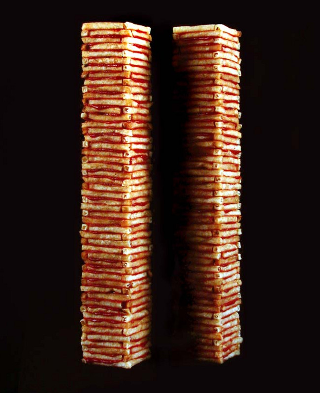 Jack Daws' photograph, Two Towers, made out of McDonald's french fries and Heinz ketchup