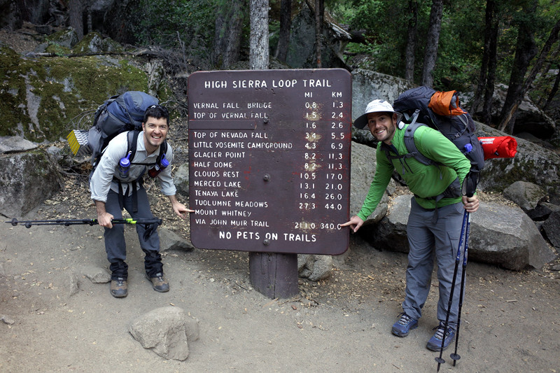 Justin and Matthew at the start of the JMT, posing in front of the High Sierra Loop Trail Sign