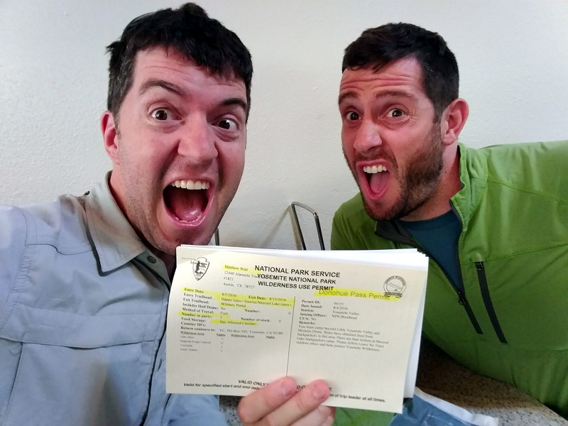Justin and Matthew with their wilderness permit for the JMT