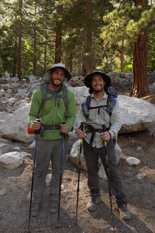 Matthew and Justin at Whitney Portal, at the end of the JMT, after hiking 220 miles over 11 days together