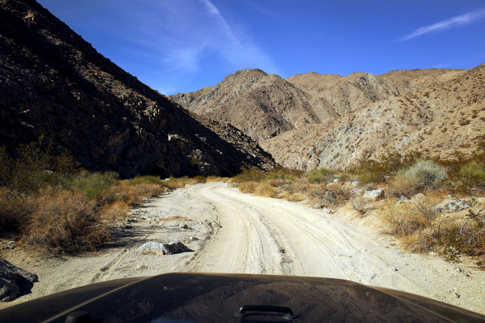 Jeep's eye view somewhere along Berdoo Canyon Road in Joshua Tree National Park
