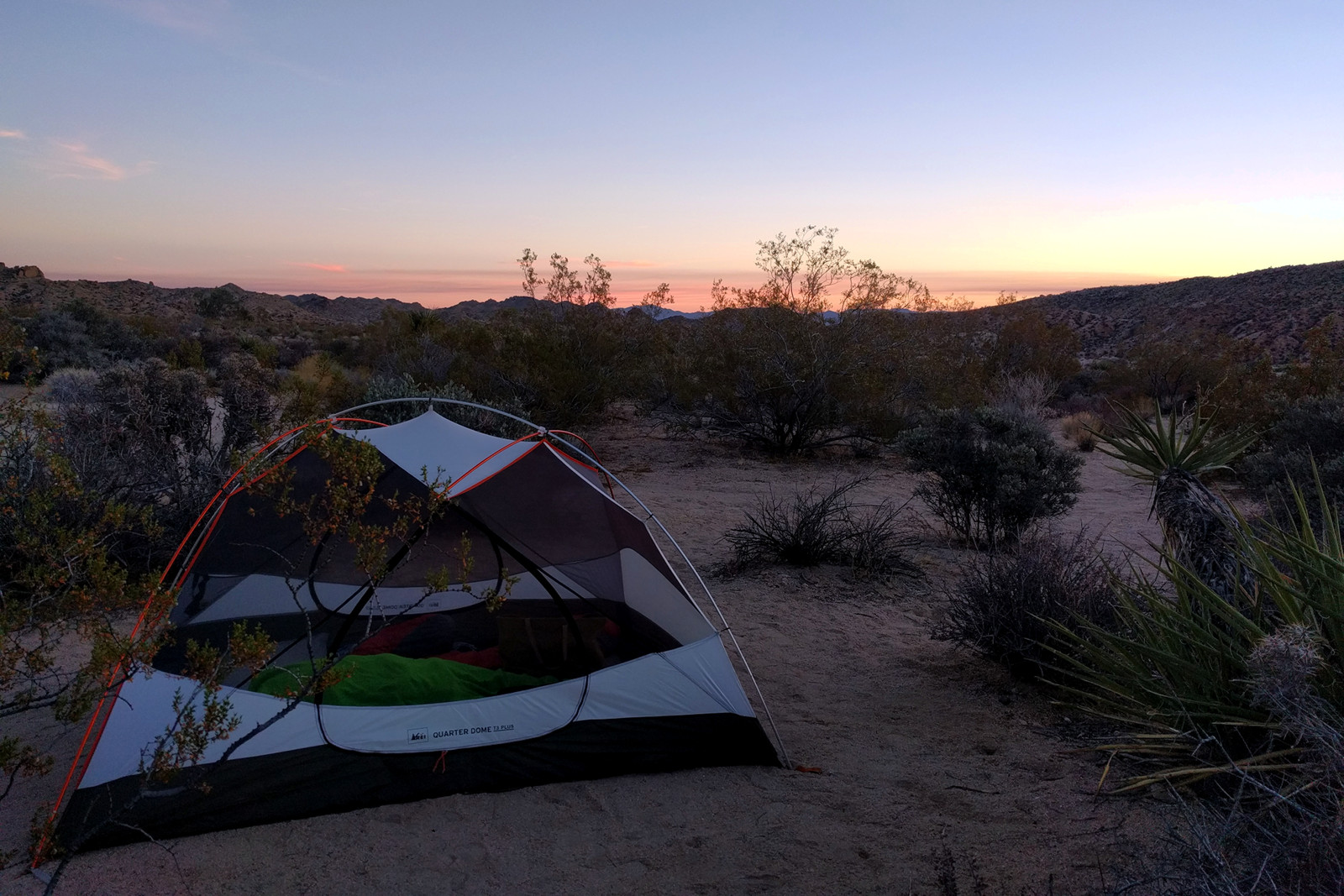 Our campsite at Cottonwood Campground in Joshua Tree National Park at sunset