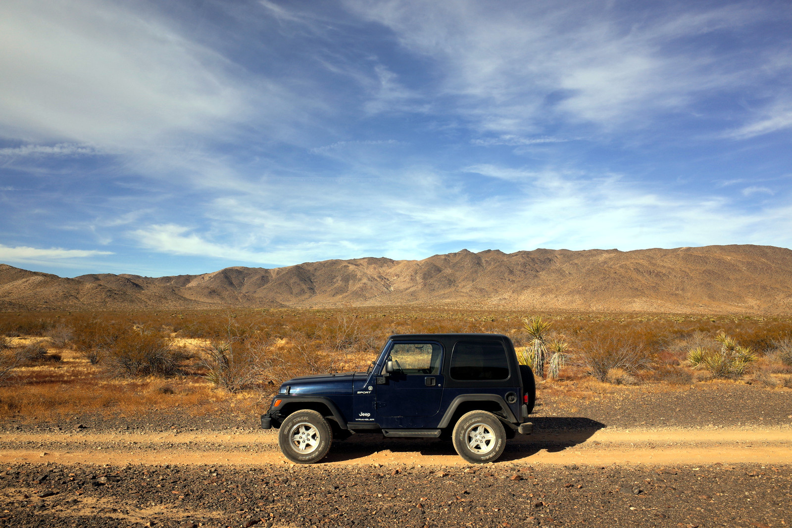 La Jeep in profile on Pinkham Canyon in Joshua Tree National Park