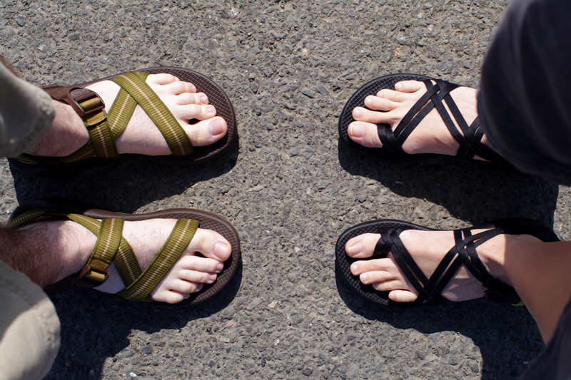 Justin and Stephanie wearing Chacos
