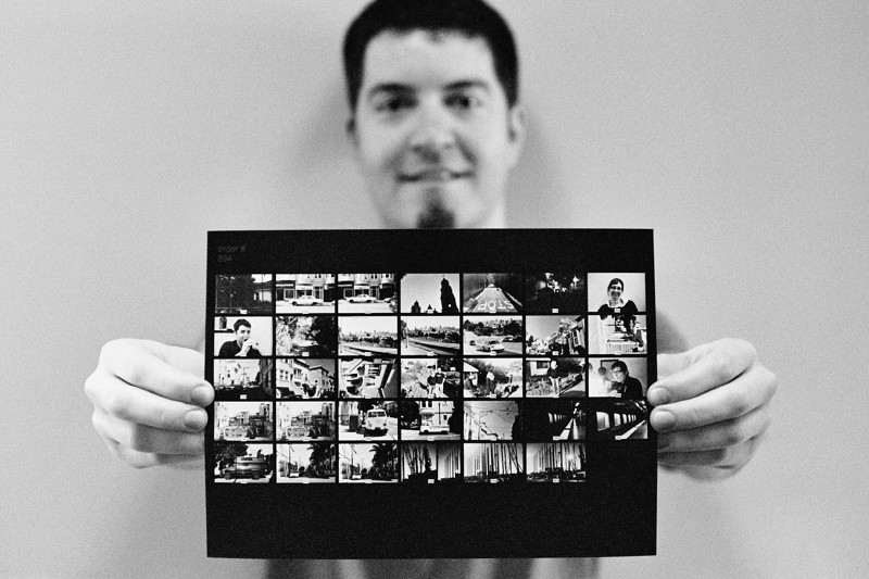 Justin holding his first Leica M3 Tri-X contact sheet