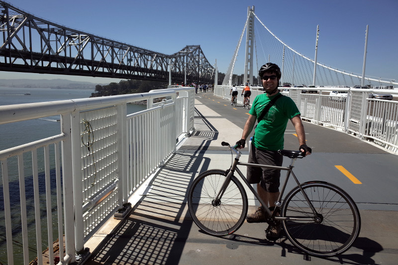 Justin on the Bay Bridge Trail