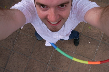 Justin self-portrait while hula hooping