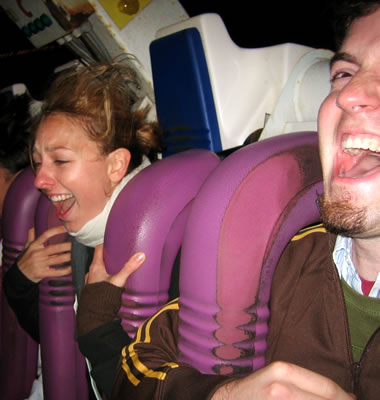 Justin and Stephanie on some other ride at the Santa Cruz Beach Boardwalk