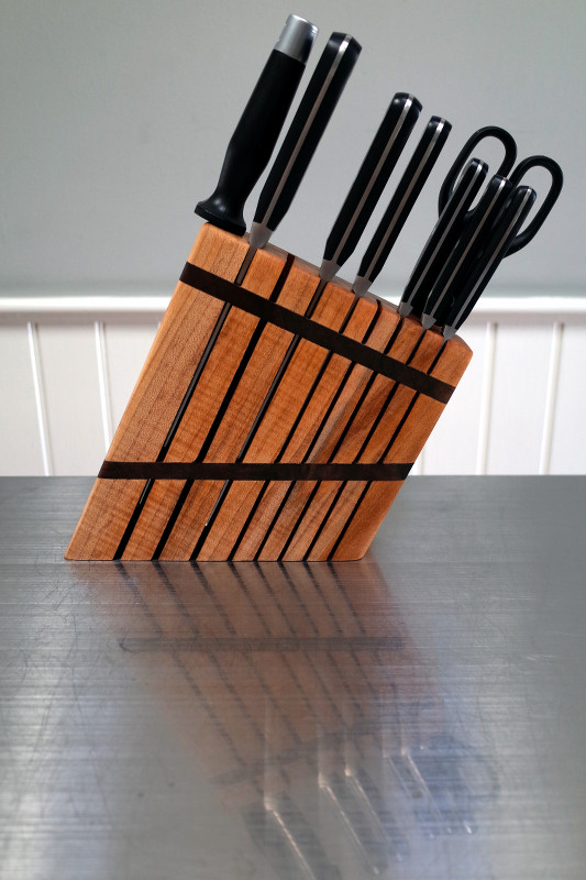 Custom knife block, designed by Justin Watt and built by Jimmy Essien of The Aurora Artisan