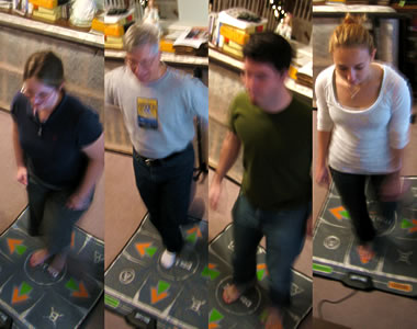 Katie, Brian (Dad), Justin, and Stephanie all doing DDR on Christmas