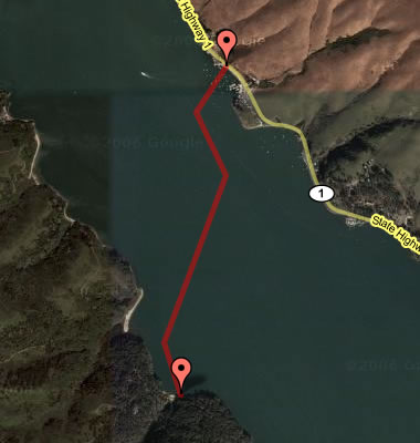 Route across Tomales Bay, kayaking with Stephanie