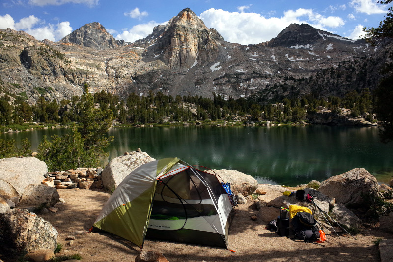 Our million-dollar campsite on the Rae Lakes Loop in Kings Canyon National Park