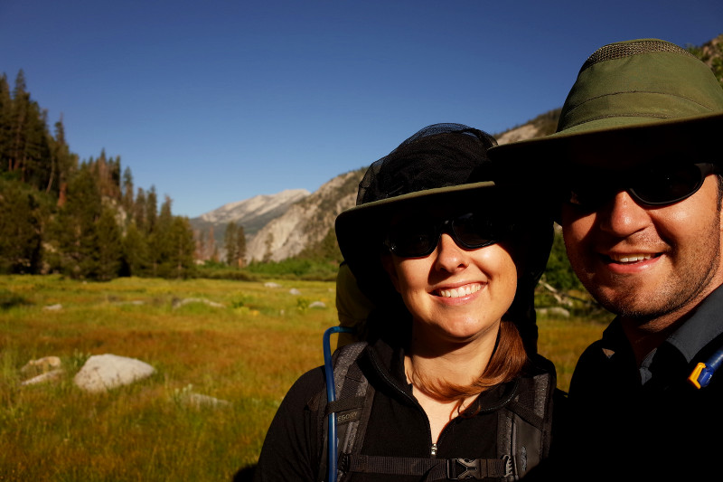 Stephanie and Justin in the early morning light on the Rae Lakes Loop in Kings Canyon National Park