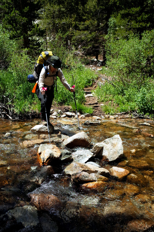 Stephanie at a stream crossing on the Rae Lakes Loop in Kings Canyon National Park