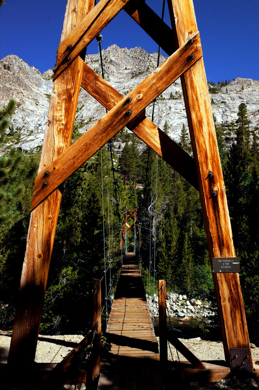 Crazy suspension bridge along the Rae Lakes Loop in Kings Canyon National Park