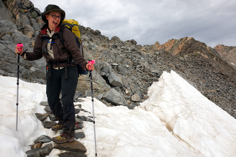 Stephanie on what remained of the snowfield, just before the top of Glen Pass on the Rae Lakes Loop in Kings Canyon National Park