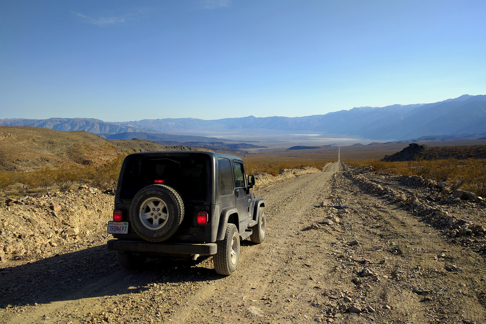 La Jeep on Saline Road, heading to Warm Springs in Death Valley National Park