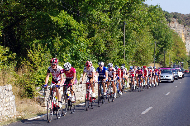 Women bike down a road during the 2009 Tour de France Feminine. Photo courtesy of justinsomnia.org