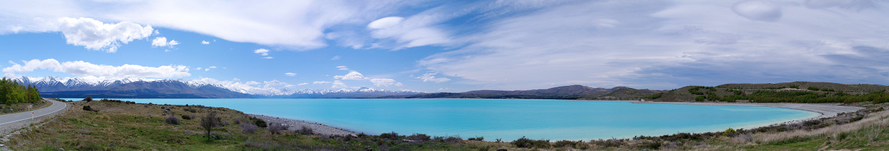 lake pukaki panorama with road