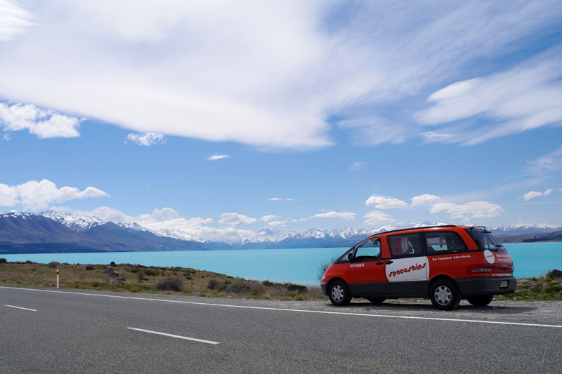 lake pukaki with spaceship voyager campervan