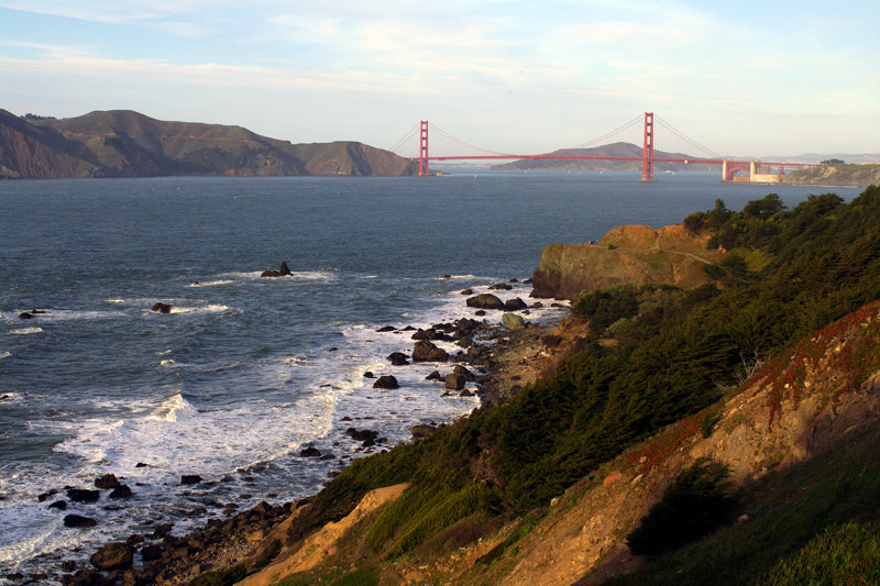 Looking back at the Golden Gate Bridge from the Coastal Trail in Land's End, San Francisco