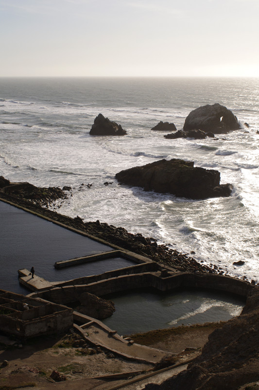 Sutro Baths ruins and Seal Rocks at Land's End, San Francisco