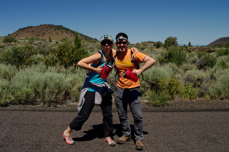 Stephanie and Justin posting with caving gear at Lava Beds National Park
