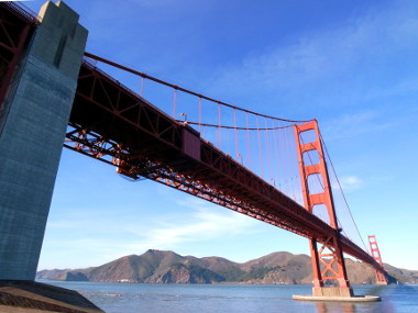 Super-wide angle view of the Golden Gate Bridge from Fort Point