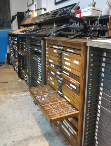 Drawers of type at the San Francisco Center for the Book